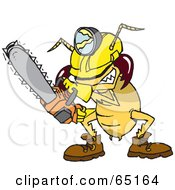 Royalty Free RF Clipart Illustration Of A Construction Termite Using A Chainsaw by Dennis Holmes Designs