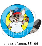 Royalty Free RF Clipart Illustration Of A Possum Wearing Clothes And Giving The Thumbs Up On A Round Logo