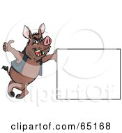 Royalty Free RF Clipart Illustration Of A Wild Hog Leaning On A Sign And Giving The Thumbs Up by Dennis Holmes Designs