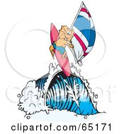 Royalty Free RF Clipart Illustration Of A Frill Lizard Wind Surfing On A Wave by Dennis Holmes Designs