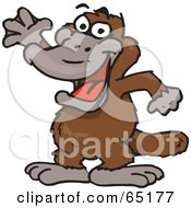 Royalty Free RF Clipart Illustration Of A Friendly Waving Brown Platypus by Dennis Holmes Designs