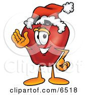 Red Apple Character Mascot Wearing A Santa Hat And Waving Clipart Picture