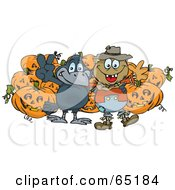 Happy Scarecrow And Crow In Front Of Halloween Pumpkins