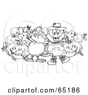 Royalty Free RF Clipart Illustration Of A Black And White Outline Of A Scarecrow And Crow With Halloween Pumpkins by Dennis Holmes Designs