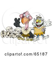 Royalty Free RF Clipart Illustration Of A Friendly Vulture And Zombie In Front Of Skulls by Dennis Holmes Designs