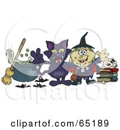 Evil Witch And Her Cat By A Cauldron Broom And Skull On Books