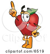 Red Apple Character Mascot Pointing Upwards Clipart Picture