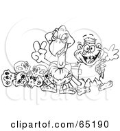 Royalty Free RF Clipart Illustration Of A Black And White Outline Of A Vulture And Zombie With Skulls by Dennis Holmes Designs
