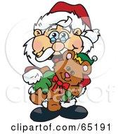 Royalty Free RF Clipart Illustration Of A Happy Santa Holding A Christmas Teddy Bear