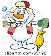 Royalty Free RF Clipart Illustration Of A Happy Snowman Smoking A Pipe And Holding An Umbrella