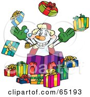 Royalty Free RF Clipart Illustration Of A Jolly Snowman Popping Out Of A Gift Box Surrounded By Christmas Presents Version 2