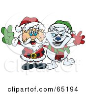 Royalty Free RF Clipart Illustration Of A Peaceful Santa And Polar Bear by Dennis Holmes Designs