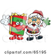 Royalty Free RF Clipart Illustration Of A Peaceful Christmas Present And Santa