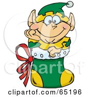 Royalty Free RF Clipart Illustration Of A Jolly Elf Nestled In A Christmas Stocking