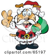 Peaceful Sparkey Dog Santa Carring A Toy Sack