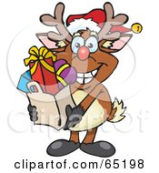 Royalty Free RF Clipart Illustration Of A Jolly Reindeer Carrying A Bag Full Of Christmas Presents