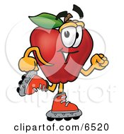 Red Apple Character Mascot Roller Blading On Inline Skates Clipart Picture