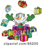 Royalty Free RF Clipart Illustration Of A Jolly Snowman Popping Out Of A Gift Box Surrounded By Christmas Presents Version 1