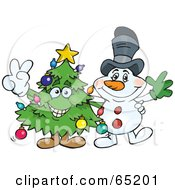 Royalty Free RF Clipart Illustration Of A Peaceful Christmas Tree And Snowman by Dennis Holmes Designs