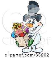 Royalty Free RF Clipart Illustration Of A Jolly Snowman Carrying A Bag Full Of Christmas Presents