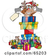 Royalty Free RF Clipart Illustration Of A Jolly Reindeer Popping Out Of A Gift Box Surrounded By Christmas Presents Version 2