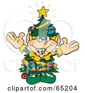 Royalty Free RF Clipart Illustration Of A Happy Elf Wearing A Christmas Tree Costume by Dennis Holmes Designs