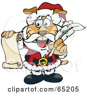 Royalty Free RF Clipart Illustration Of A Sparkey Dog Santa Holding A List And Quill