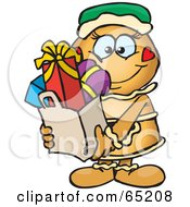Royalty Free RF Clipart Illustration Of A Jolly Gingerbread Woman Carrying A Bag Full Of Christmas Presents