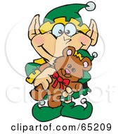 Royalty Free RF Clipart Illustration Of A Happy Elf Holding A Christmas Teddy Bear by Dennis Holmes Designs