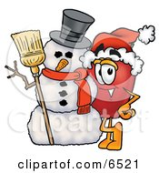 Red Apple Character Mascot Leaning On A Snowman On Christmas Clipart Picture