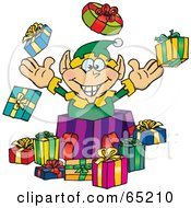 Royalty Free RF Clipart Illustration Of A Jolly Elf Popping Out Of A Gift Box Surrounded By Christmas Presents Version 1 by Dennis Holmes Designs