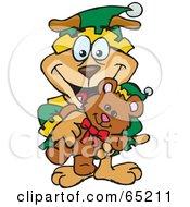 Royalty Free RF Clipart Illustration Of A Happy Sparkey Dog Elf Holding A Christmas Teddy Bear