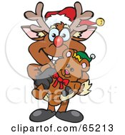 Royalty Free RF Clipart Illustration Of A Happy Reindeer Holding A Christmas Teddy Bear