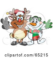 Royalty Free RF Clipart Illustration Of A Peaceful Reindeer And Snowman