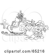 Black And White Outline Of Rudolph And Santa With A Sleigh At The North Pole