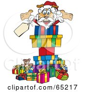 Jolly Sparkey Dog Santa Popping Out Of A Gift Box Surrounded By Christmas Presents Version 1