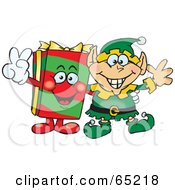 Royalty Free RF Clipart Illustration Of A Peaceful Elf And Christmas Gift by Dennis Holmes Designs