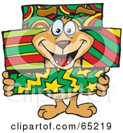 Royalty Free RF Clipart Illustration Of A Sparkey Dog Poking His Head Through Stacked Christmas Gift Boxes