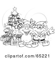 Royalty Free RF Clipart Illustration Of A Black And White Outline Of A Peaceful Rudolph And Elf By A Christmas Tree by Dennis Holmes Designs