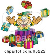 Royalty Free RF Clipart Illustration Of A Jolly Soarkey Dog Elf Popping Out Of A Gift Box Surrounded By Christmas Presents Version 1