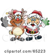 Royalty Free RF Clipart Illustration Of A Peaceful Reindeer And Santa Claus