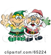 Royalty Free RF Clipart Illustration Of A Peaceful Elf And Santa Claus by Dennis Holmes Designs