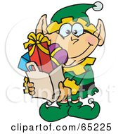 Royalty Free RF Clipart Illustration Of A Jolly Male Elf Carrying A Bag Full Of Christmas Presents