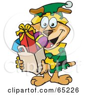 Royalty Free RF Clipart Illustration Of A Jolly Sparkey Dog Elf Carrying A Bag Full Of Christmas Presents by Dennis Holmes Designs