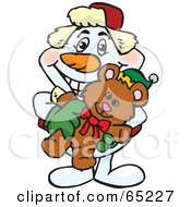 Royalty Free RF Clipart Illustration Of A Happy Snowman Holding A Christmas Teddy Bear