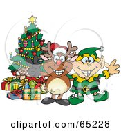 Royalty Free RF Clipart Illustration Of A Peaceful Reindeer With An Elf By A Christmas Tree by Dennis Holmes Designs