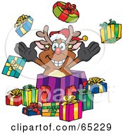 Royalty Free RF Clipart Illustration Of A Jolly Reindeer Popping Out Of A Gift Box Surrounded By Christmas Presents Version 1