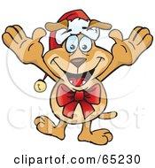 Festive Sparkey Dog Wearing A Bow And Santa Hat