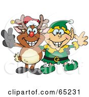 Royalty Free RF Clipart Illustration Of A Peaceful Christmas Elf And Rudolph