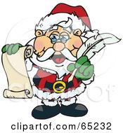 Royalty Free RF Clipart Illustration Of Santa Holding A List And A Feather Quill by Dennis Holmes Designs